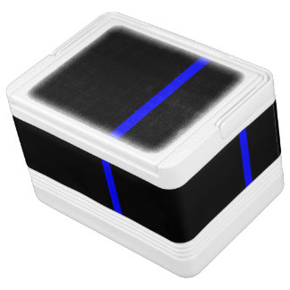 The Symbolic Thin Blue Line on a black decor Igloo Cooler