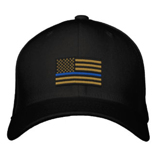 The Symbolic Thin Blue Line on Gold US Flag Embroidered Hats