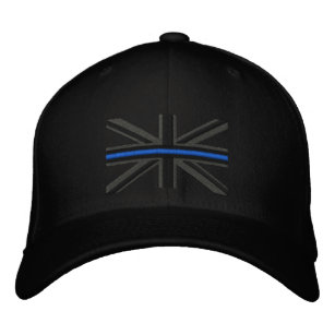 The Symbolic Thin Blue Line on UK Flag Embroidered Hat