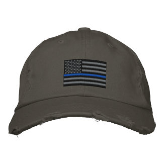 The Symbolic Thin Blue Line on US Flag Baseball Cap