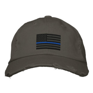 The Symbolic Thin Blue Line on US Flag Embroidered Hat
