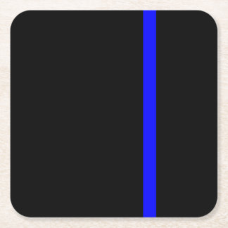 The Symbolic Thin Blue Line Vertical Square Paper Coaster
