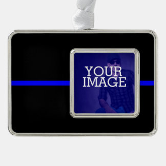 The Symbolic Thin Blue Line Your Image on a Silver Plated Framed Ornament