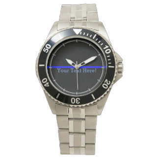The Symbolic Thin Blue Line Your Text on Black Watches