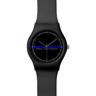The Symbolic Thin Blue Line Your Text on Black Wrist Watches