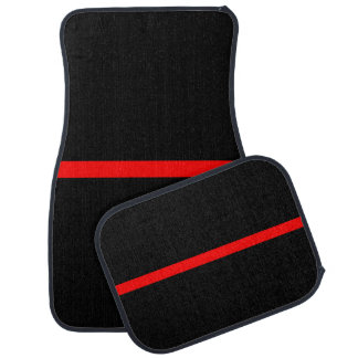 The Symbolic Thin Red Line Horizontal Black Car Mat