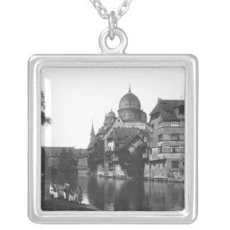 The synagogue at Nuremberg, c.1910 Silver Plated Necklace