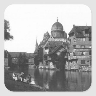 The synagogue at Nuremberg, c.1910 Square Sticker