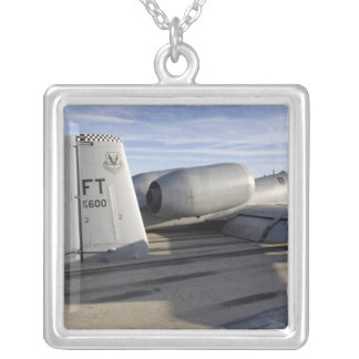 The tail section of an A-10 Thunderbolt II Silver Plated Necklace