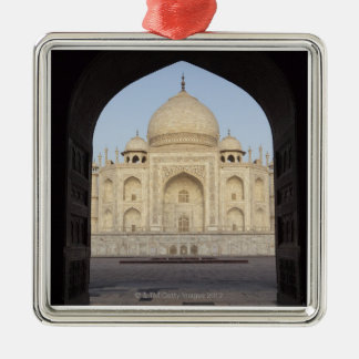 the Taj Mahal framed in the Mehmankhana doorway Silver-Colored Square Decoration