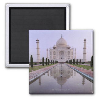 the Taj Mahal perfectly reflected in the pool in Square Magnet