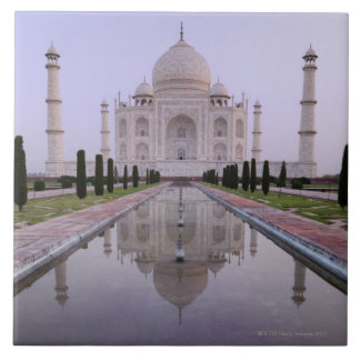 the Taj Mahal perfectly reflected in the pool in Tile