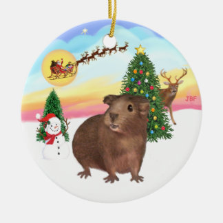 The Take Off - Brown Guinea Pig #3 Christmas Ornament