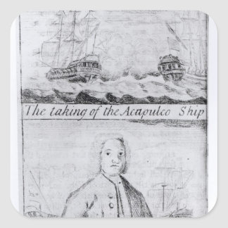 The Taking of the Acapulco Ship, 20th June 1743 Square Sticker