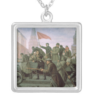 The Taking of the Moscow Kremlin in 1917, 1938 Silver Plated Necklace