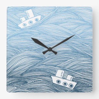 The Tale of Two Ships Square Wall Clock