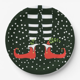 The TALL Elf Christmas Party Paper Plates 9 Inch Paper Plate
