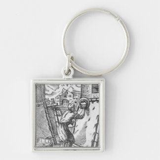 The tanner Silver-Colored square key ring