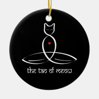 The Tao Of Meow - Sanskrit style text. Round Ceramic Decoration