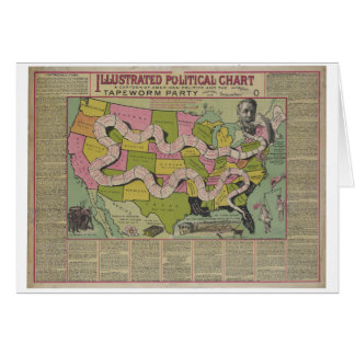 The Tapeworm Party American Political Chart (1888) Greeting Cards