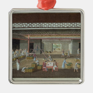 The Tea Depot (gouache on silk) Christmas Ornament