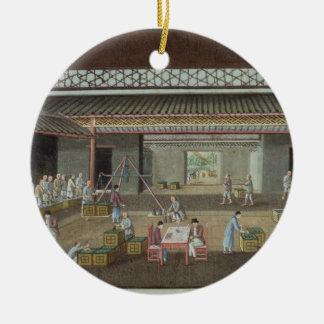 The Tea Depot (gouache on silk) Round Ceramic Decoration