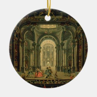 The Teatro Reale in Turin (oil on canvas) Christmas Ornament