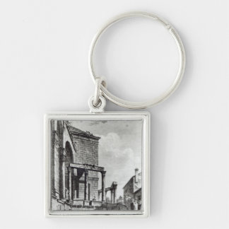 The Temple of Jupiter in the palace of Silver-Colored Square Key Ring