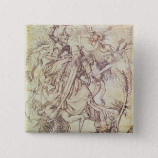 The Temptation of St. Anthony (engraving) 15 Cm Square Badge