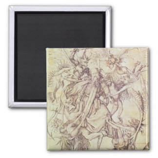 The Temptation of St. Anthony (engraving) Square Magnet