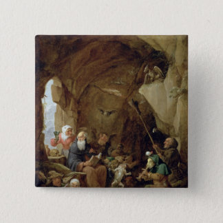 The Temptation of St. Anthony in a Rocky Cavern 15 Cm Square Badge