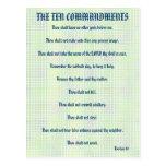 The Ten Commandments Green Grid Postcard