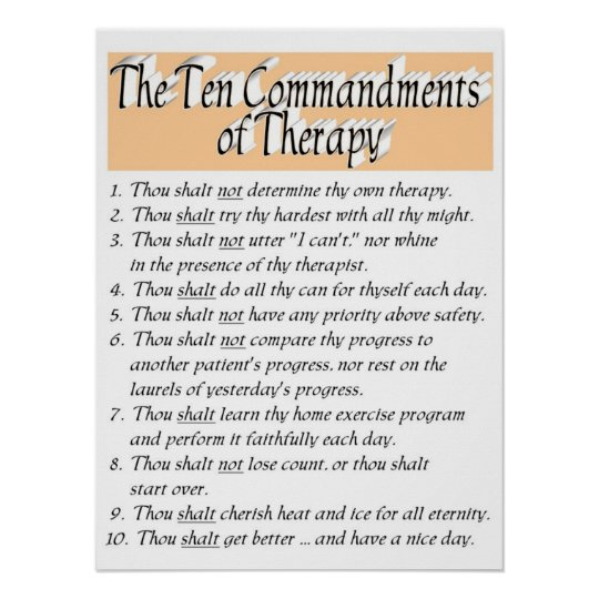 The Ten Commandments of Therapy Poster