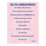 The Ten Commandments Pink Grid Postcard