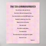 The Ten Commandments - Pink Grid Poster