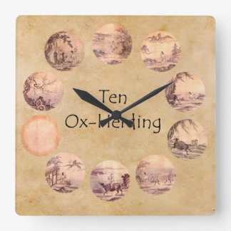The Ten Oxherding Pictures Square Wall Clock