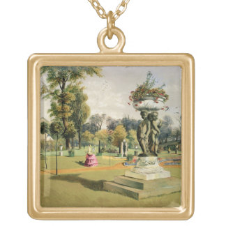 The Terrace Garden, Woburn Abbey (chromolitho) Gold Plated Necklace