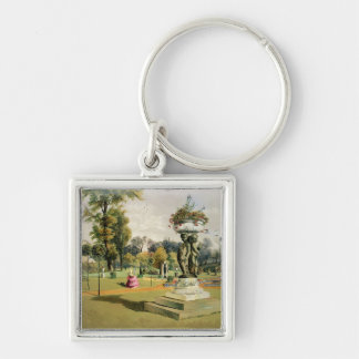 The Terrace Garden, Woburn Abbey (chromolitho) Silver-Colored Square Key Ring