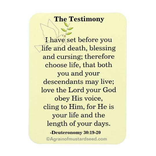 The Testimony Scripture Rectangular Photo Magnet