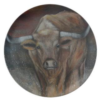 The Texas Longhorn Bull Party Plates