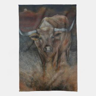 The Texas Longhorn Bull Tea Towel