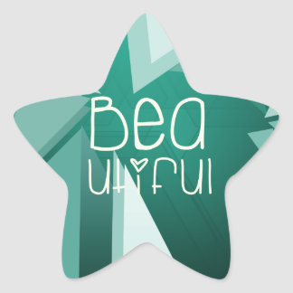 The text Beautiful on a nice background Star Sticker