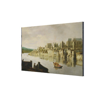 The Thames at Westminster Stairs, c.1630 (oil on p Canvas Print