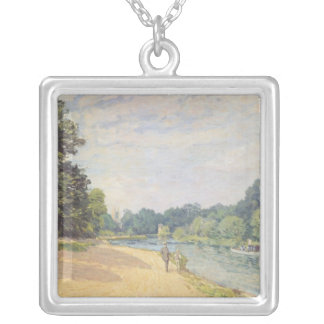 The Thames with Hampton Church, 1874 Silver Plated Necklace