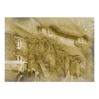 The thatched cottage at the end of the lane. poster