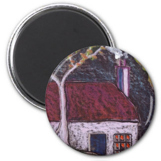 THE THATCHED COTTAGE 6 CM ROUND MAGNET