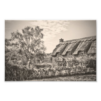 The Thatched Cottage Vintage B W photo print