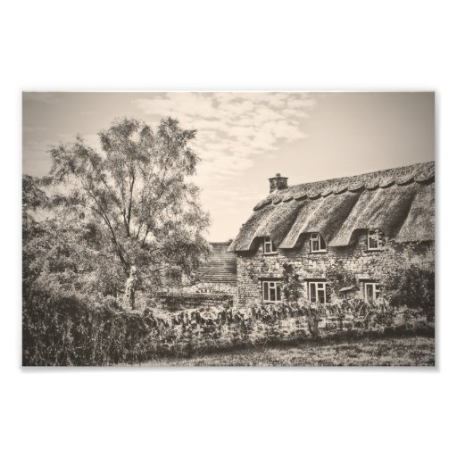 The Thatched Cottage (Vintage B&W) photo print