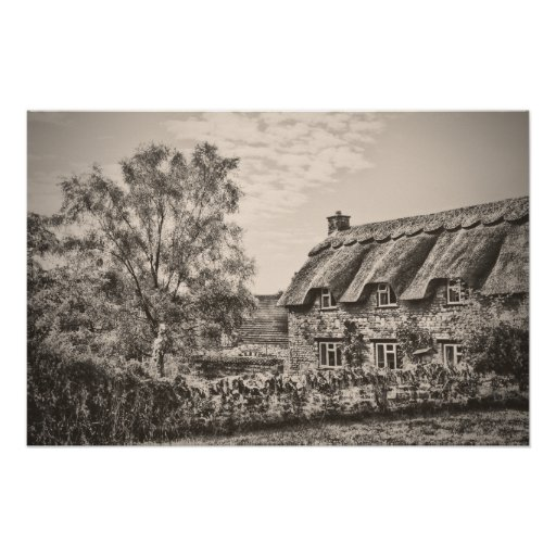 The Thatched Cottage (Vintage B&W) poster print