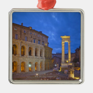 The Theater of Marcellus in Rome at night Silver-Colored Square Decoration